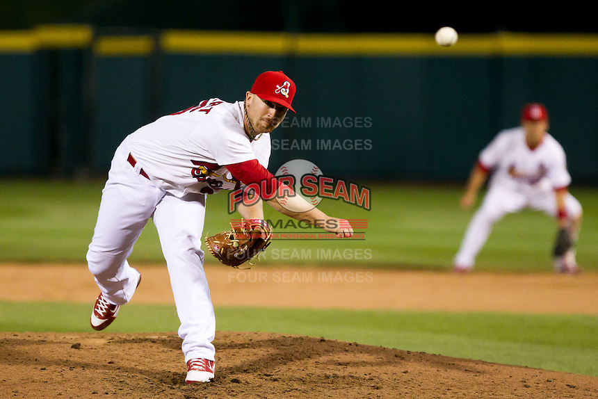 Matthew Frevert (26) of the Springfield Cardinals delivers a pitch during a game against the Tulsa Drillers on April 29, 2011 at Hammons Field in Springfield, Missouri.  Photo By David Welker/Four Seam Images.