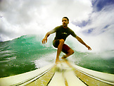 INDONESIA, Mentawai Islands, Kandui Resort, man surfing on a wave, Nupussy