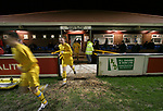 Airbus UK 4 Bangor City 1, 12/01/2007. The Airfield, Welsh Premier League. The away team take the field as lowly Airbus UK take on Bangor City in a Welsh Premier League match at The Airfield, Broughton. The Airmen won by 4 goals to 1, having lead by a solitary goal at the break in this North Wales clash. Photo by Colin McPherson.