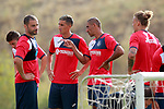 Getafe CF's Medhi Lacen, Faycal Fajr and Cata Diaz during training session. August 1,2017.(ALTERPHOTOS/Acero)