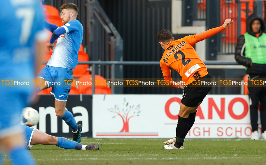 Cheye Alexander crashes home the opening goal for Barnet during Barnet vs Barrow, Buildbase FA Trophy Football at the Hive Stadium on 8th February 2020
