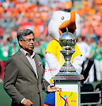 The Hague, Netherlands, June 15: The World Cup Trophy waits to be handed over before the prize giving ceremony on June 15, 2014 during the World Cup 2014 at Kyocera Stadium in The Hague, Netherlands. (Photo by Dirk Markgraf / www.265-images.com) *** Local caption ***