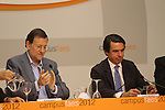 The Prime Minister of Spain, Mariano Rajoy (l), the President of FAES foundation (foundation for the analysis and social studies), José María Aznar have closed the ninth edition of Campus FAES, which took place in the town of Navacerrada, Madrid.July 7,2012. (ALTERPHOTOS/Alberto Simon)
