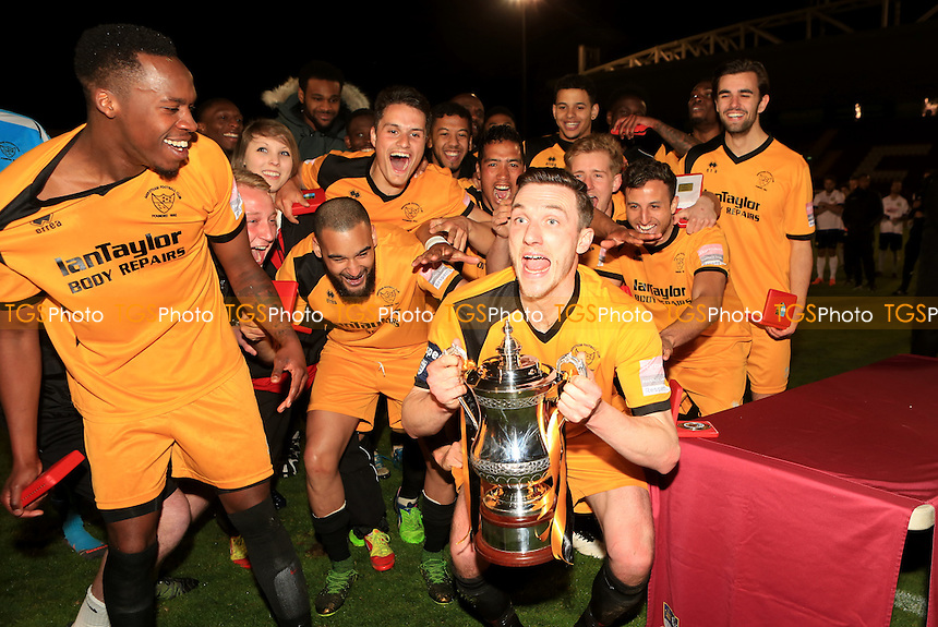 Merstham lift the Surrey Senior Cup during Merstham vs Godalming Town, Surrey Senior Cup Final Football at The Laithwaite Community Stadium on 4th May 2016