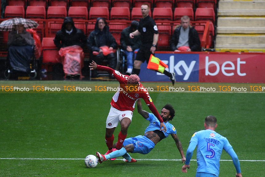 Luke Thomas of Coventry tackles Charlton's Lyle Taylor and referee Ben Toner awarded Charlton a penalty during Charlton Athletic vs Coventry City, Sky Bet EFL League 1 Football at The Valley on 6th October 2018