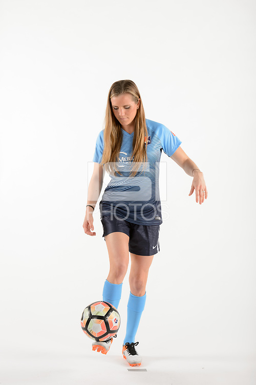 Belmar, NJ - Wednesday March 29, 2017: Kelly Conheeney poses for photos at the Sky Blue FC team photo day.
