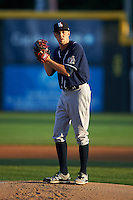 New Hampshire Fisher Cats starting pitcher Casey Lawrence (26) gets ready to deliver a pitch during a game against the Harrisburg Senators on July 21, 2015 at Metro Bank Park in Harrisburg, Pennsylvania.  New Hampshire defeated Harrisburg 7-1.  (Mike Janes/Four Seam Images)
