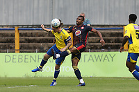 Tom Bender of St Albans wins a header against Jonathan Obika of Stevenage during St Albans City vs Stevenage, Friendly Match Football at Clarence Park on 13th July 2019