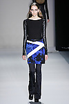 Zuzanna Bijoch walks the runway in a Nicole Miller Fall 2011 outfit, during Mercedes-Benz Fashion Week.