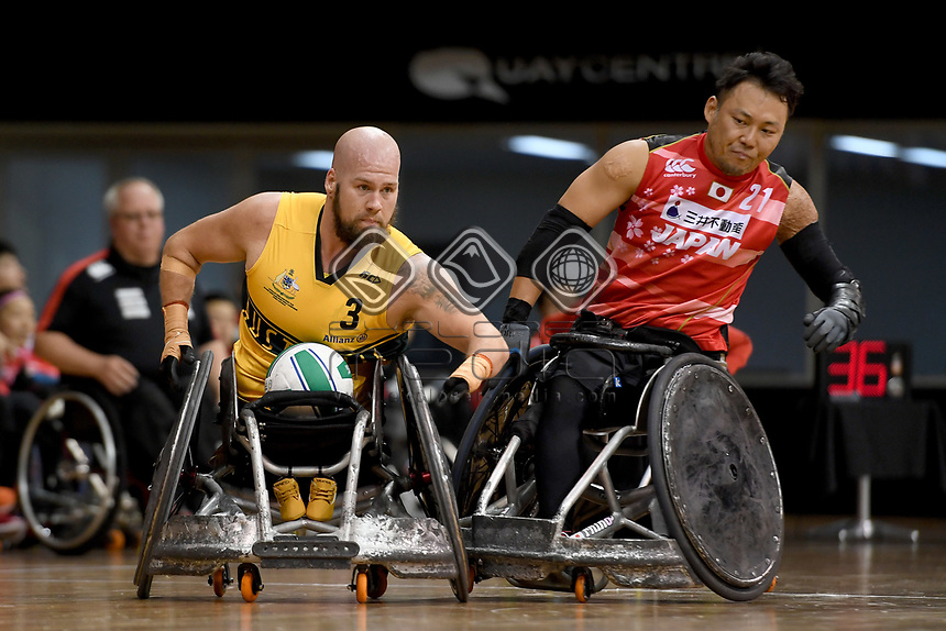 Ryley Batt (AUS)  vs Japan<br /> Australian Wheelchair Rugby Team<br /> 2018 IWRF WheelChair Rugby <br /> World Championship / Day 4<br /> Sydney  NSW Australia<br /> Wednesday 8th August 2018<br /> © Sport the library / Jeff Crow / APC