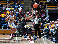 Afure Jemerigbe of California tries to catch a loose ball during the game against Arizona State at Haas Pavilion in Berkeley, California on February 16th, 2014.  California defeated Arizona State, 74-63.