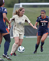 Boston College midfielder Patrice Vettori (18) dribbles. Pepperdine University defeated Boston College,1-0, at Soldiers Field Soccer Stadium, on September 29, 2012.