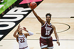 DALLAS, TX - APRIL 2: Teaira McCowan #15 of the Mississippi State Lady Bulldogs intercepts a pass intended for A'ja Wilson #22 of the South Carolina Gamecocks during the 2017 Women's Final Four at American Airlines Center on April 2, 2017 in Dallas, Texas. (Photo by Timothy Nwachukwu/NCAA Photos via Getty Images)