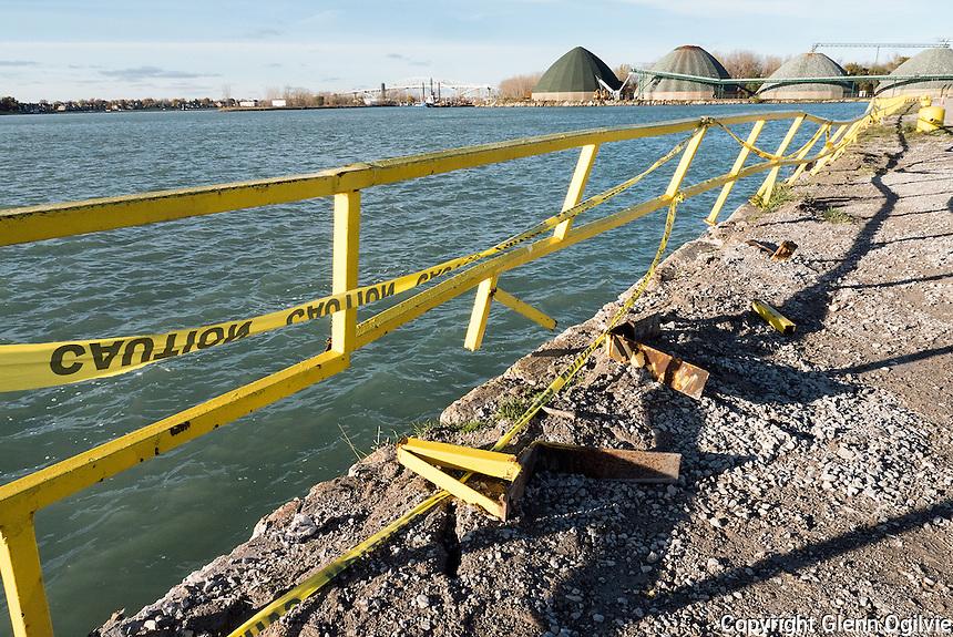 Damaged railing along the Sydney Smith dock