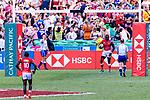 Collins Injera of Kenya (R) scores a goal during the HSBC Hong Kong Sevens 2018 Semi-Finals match between Kenya and New Zealand on April 8, 2018 in Hong Kong, Hong Kong. Photo by Marcio Rodrigo Machado / Power Sport Images