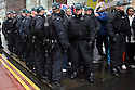 Police Officers kettle in Loyalist Flag Protesters away from a trade union rally against the G8 Summit in Belfast, Northern Ireland, 15 June 2013. Leaders from Canada, France, Germany, Italy, Japan, Russia, USA and UK are meeting at Lough Erne in Northern Ireland for the G8 Summit 17-18 June. Photo/STR