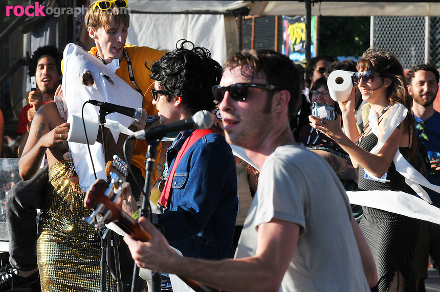 Cole Alexander and Jared Swilley from Georgia based Garage Punk rockers The Black Lips are joined by King Kahn and Deer Hunter's Bradford Cox at The Pool Parties Concert Series at McCarren Park , Brooklyn NYC