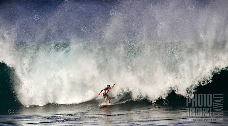 Aamion Goodwin, happy and relieved after riding a challenging wave, at 2011 Billabong Pipe Masters In Memory of Andy Irons, Banzai Pipeline on North Shore of Oahu.