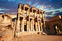Picture & Photo of The library of Celsusat sunrise . Images of the Roman ruins of Ephasus, Turkey. Stock Picture & Photo art prints