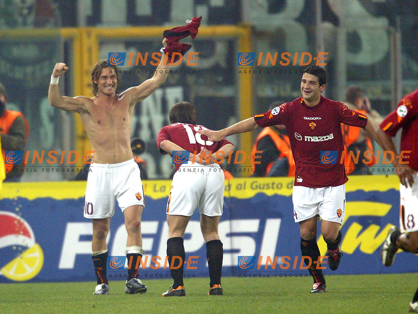Roma 8/2/2004 Roma Juventus 4-0<br /> Francesco Totti (Roma) celebrates goal of 2-0 for As Roma<br /> Photo Andrea Staccioli Insidefoto