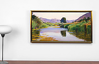 "Burtt: Summer On The Pond, Haze, Digital Print, , Framed Dims. 27"" x 47"" x 2"""