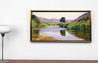 "Burtt: Summer On The Pond, Haze, Digital Print, , Framed Dims. 27"" x 47"" x 2"""