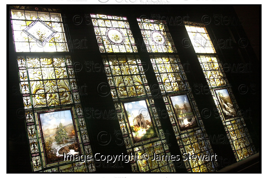 16th March 2001         Copyright Pic : James Stewart .Ref :                           .File Name : stewart02-windows.THE STAINED GLASS WINDOWS FROM SPRINGBANK HOUSE WHICH LAY FOR YEARS IN A COUNCIL STORE WHICH NOW HAVE BEEN INSTALLED IN SMITH GALLERY IN STIRLING.....(see copy from George mair/Tim Bugler)......Payments to :-.James Stewart Photo Agency, Stewart House, Stewart Road, Falkirk. FK2 7AS      Vat Reg No. 607 6932 25.Office : 01324 630007        Mobile : 0421 416997.E-mail : jim@jspa.co.uk.           : jim@jamesstewart.co.uk.If you require further information then contact Jim Stewart on any of the numbers above.........