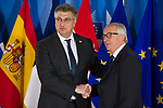 Belgium, Brussels - June 24, 2018 -- Informal working meeting on migration and asylum issues convened by Jean-Claude JUNCKER (ri), President of the European Commission, here welcoming Andrej PLENKOVIC (le), Prime Minister of Craotia -- Photo © HorstWagner.eu