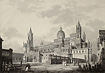 Antique illustration of Palermo Cathedral, Italy. The original engraving, created by B. Rosaspina, may be dated to the first half of 19th c.