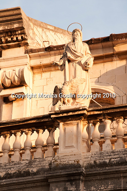 A statue on the roof of the Cathedral in Dubrovnik, Croatia.