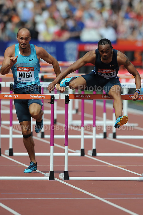The Mens 100m Hurdles heat 2 race during the Sainsbury Anniversary Games, Olympic Stadium, London England, Saturday 27th July 2013-Copyright owned by Jeff Thomas Photography-www.jaypics.photoshelter.com-07837 386244. No pictures must be copied or downloaded without the authorisation of the copyright owner.