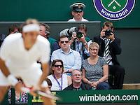 July 6, 2014, UK, London, Tennis, Wimbledon, AELTC, Men's Singles Final:  Novak Djokovic (SRB) vs Roger Federer (SUI), Pictured: American star photographer Fred Mullane at work<br /> Photo: Tennisimages/Henk Koster