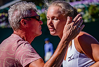 London, England, 2 th July, 2018, Tennis,  Wimbledon,  Kiki Bertens (NED) wins and is kissed by her father<br /> Photo: Henk Koster/tennisimages.com