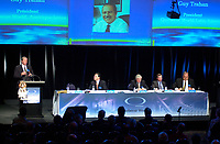 """Montreal, April 4rd 2001<br /> Charles G"""" Cavell, President and CEO speaks at<br /> Quebecor World annual meeting, April 4th 2001, in Montreal, CANADA<br /> Since the `` Merger of equals `` between Quebecor Printing and World Color, the company operating margin reached a record high of 11.1 % for the year ; revenues increased by 32 % to 6.5 billion US $ ; operating income increased by 53 % to 724.8 Million US $  and net income increased by 43 % to 293.4 Million US $, or 1,93 US $ per share.<br /> Quebecor World is now the largest and strongest performing entity in the printing field<br /> Photo by Pierre Roussel  / Liaison<br /> NOTE :  D-1 photo uncorrected"""