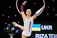 "February 12, 2016 - Tartu, Estonia - ANNA RIZATDINOVA of Ukraine wins gold in the All-Around at ""Miss Valentine"" 2016 international tournament."