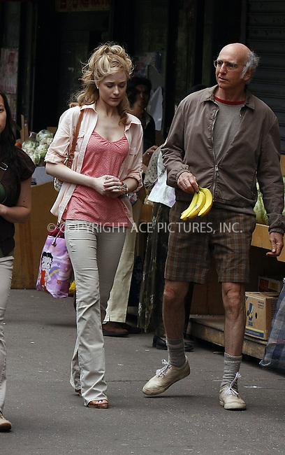 WWW.ACEPIXS.COM . . . . .  ....May 19 2008, New York City....Actors Evan Rachel Wood and Larry david were on the downtown set of Woody Allen's untitled spring project.....Please byline: AJ Sokalner - ACEPIXS.COM..... *** ***..Ace Pictures, Inc:  ..te: (646) 769 0430..e-mail: info@acepixs.com..web: http://www.acepixs.com