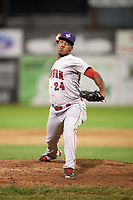 Auburn Doubledays relief pitcher Diomedes Eusebio (24) delivers a warmup pitch during a game against the Batavia Muckdogs on June 19, 2017 at Dwyer Stadium in Batavia, New York.  Batavia defeated Auburn 8-2 in both teams opening game of the season.  (Mike Janes/Four Seam Images)
