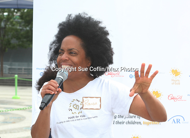 Another World's and singer Rhonda Ross sings the National Anthem  - Hearts of Gold 7th Annual Run/Walk for Kids with proceeds from this fun family event will change the futures of homeless mothers and their children on June 3, 2017 at Pier 84 Hudson Parks, New York City, New York. It supports Hearts of Gold Annual Back to School Programs. (Photo by Sue Coflin/Max Photos)