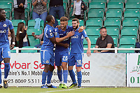 Ben Williamson of Eastleigh is congratulated after scoring the second goal during Eastleigh vs Dagenham & Redbridge, Vanarama National League Football at the Silverlake Stadium on 12th August 2017