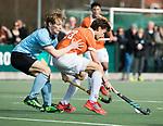 WASSENAAR - Hoofdklasse hockey heren, HGC-Bloemendaal (0-5)  Florian Fuchs (Bldaal) met links Thijmen Piket (HGC)      COPYRIGHT KOEN SUYK