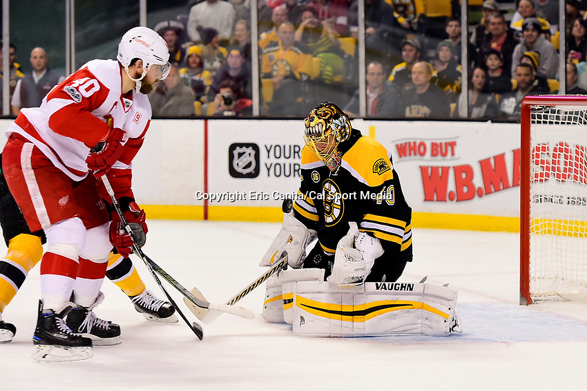 during the National Hockey League game between the Detroit Red Wings and the Boston Bruins held at TD Garden, in Boston, Mass. Boston defeats Detroit 4-3 in overtime. Eric Canha/CSM