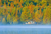 Cottage in morning fog on Lac des Sables<br />