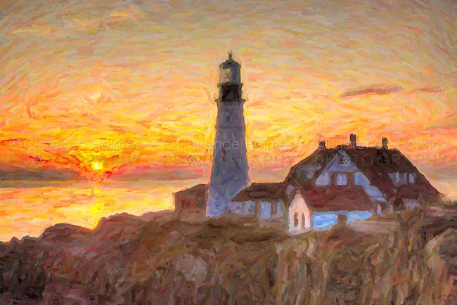 The first rays of sun after sunrise reach the Portland Head Light, built in 1791, which protects mariners entering Casco Bay. The lighthouse is located in Fort Williams Park, Cape Elizabeth, Maine. The image was creatively modified to resemble a painting.