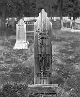 """""""Rudolf Grave Marker at Pioneer Cemetery"""" <br /> Atlin, British Columbia, Canada<br /> <br /> The Pioneer Cemetery in Atlin, BC provides information about devastating accidents that resulted in death. The grave marker of Charley William Rudolf tells us that he died from gunshot wounds when he was mistaken for a bear. Charley was only 16 years old."""