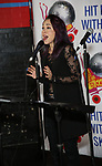 """Diana DeGarmo during the Special Musical Presentation for """"Hit Her WithThe Skates"""" at the Bowlmor Times Square on October 16, 2018 in New York City."""