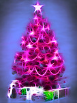 Bright pink abstract Christmas tree with gifts under it. Artistic colorful illustration isolated on blue background. Image © MaximImages, License at https://www.maximimages.com