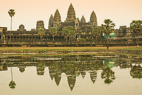 A general view of Angkor Wat from across a pool in the grounds, Siem Reap province, Cambodia.