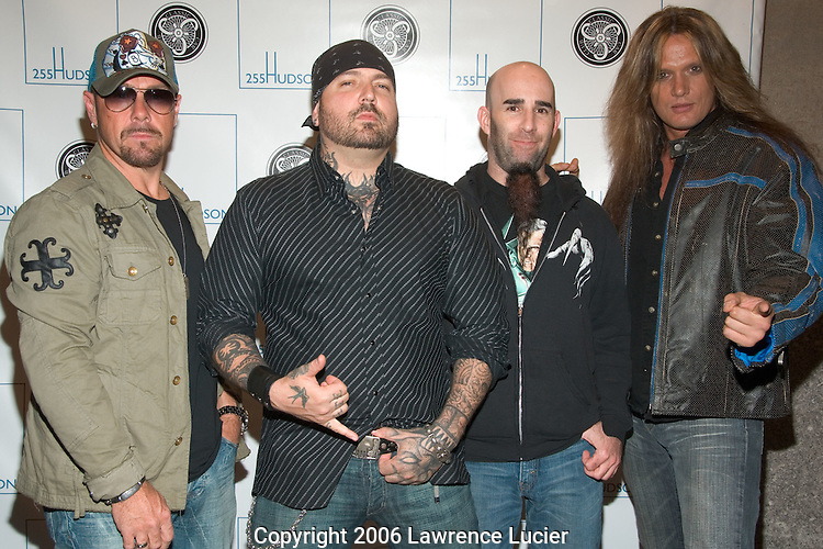 VH1 Supergroup Damnocracy (Jason Bonham, Evan Seinfeld, Ian Scott, and Sebastian Bach) arrive at the launch party for 255 Hudson Condominiums May 4, 2006, at the Classic Car Club of Manhattan.. (Pictured : Damnocracy).