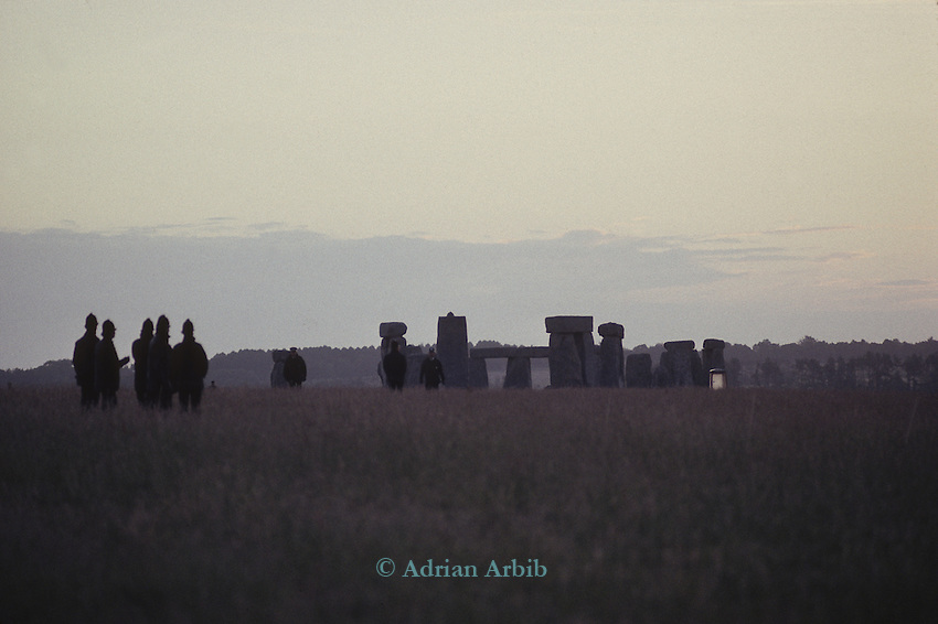 Police  prevent access to Stonehenge on the night of the  Summer Solstice 1990