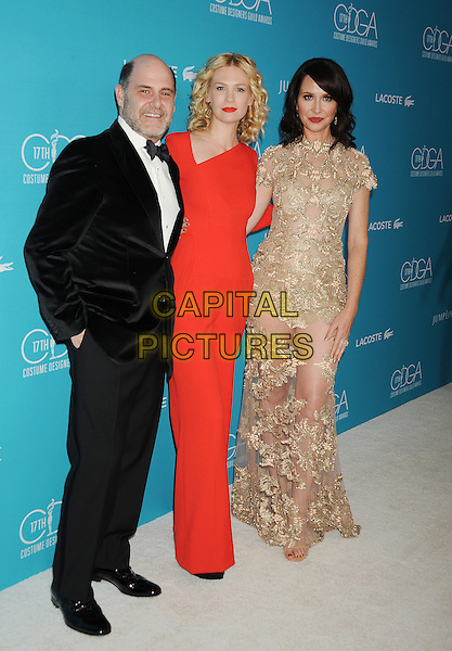 BEVERLY HILLS, CA - FEBRUARY 17: (L-R) Writer/producer Matthew Weiner, actress January Jones and costume designer Janie Bryant attend the 17th Costume Designers Guild Awards at The Beverly Hilton Hotel on February 17, 2015 in Beverly Hills, California.<br /> CAP/ROT/TM<br /> &copy;TM/ROT/Capital Pictures